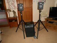 Skytec portable DVD karaoke/P.A. sound system with speakers & stands