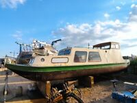 Dutch barge 34ft x 8ft Houseboat Canal river boat widebeam liveaboard PROJECT