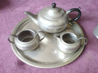 ENGLISH PEWTER TEA SET AND SELECTION OF OTHER MUGS