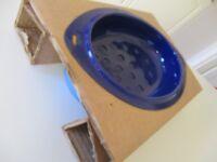 2 tone blue vintage enamel roasting dish unused
