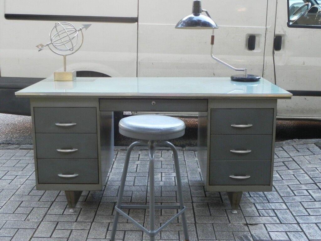 Vintage 1950s Steel Lockable Pedestal Desk Sale In