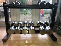 dumbbells sets and rack