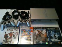 Sony Playstation2 PS2 Original Silver Edition 2 Pads 4 games all leads