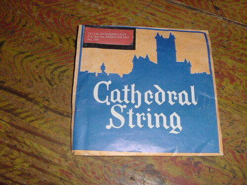 VINTAGE CATHEDRAL CELLO STRING SILVERED ON GUT C OR 4TH  NEW OLD STOCK 1950s