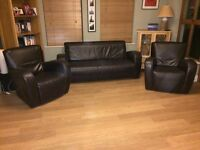Small Modern Brown leather 3 piece suite / sofa