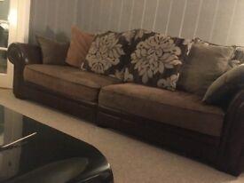 2 Leather Fabric Mix Sofas