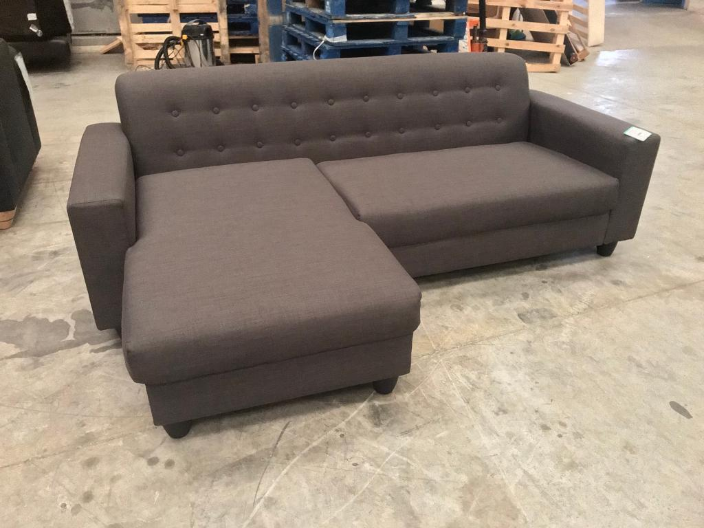 Brand new grey retro corner sofa