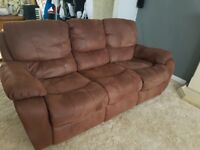 Brown 3 seater suede and single rocker recliner sofa