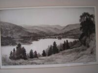 """""""ULLSWATER"""" ANTIQUE DRYPOINT ETCHING PRINT BY JOHN FULLWOOD"""