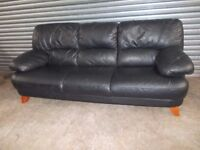 Black Full Leather 3+2-seater Suite