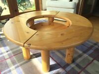 Coffee Table, round solid pine with centre display area