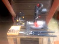 router and 5 router bits mitersaw and pop rivet gun.