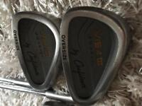 Golf irons, x 9, woods x 4, putter and bag