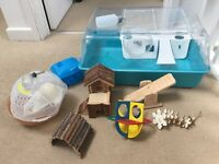 Hamster cage and accessories as shown - all included
