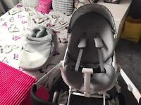 Quinny Moodd - Gravel grey/White Frame, including parasol, newborn nest and rain cover