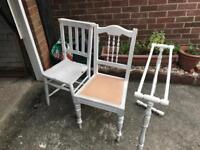 Old pine chairs and pine towel rail ideal to paint