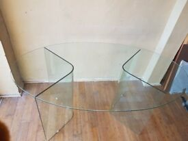 Glass desk or small table. Oval and very good looking.
