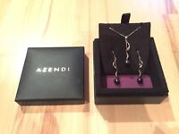 Azendi black pearl and silver earring and necklace set
