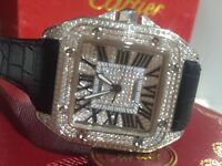 MENS CARTIER SANTOS 100 ICED OUT DIAMOND FULLY ICED WATCH WITH BOX PAPERS TAGS