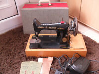 Singer 99 Electric Sewing Machine & Case & Peddle & Accessories (Vintage)
