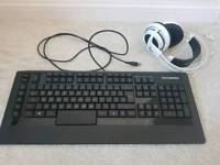 Steelseries gaming accessories - Siberia V3 Headset White & Apex RAW Keyboard