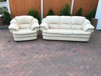 Cream two pieces leather suite, three seater sofa, couch, settee, single chair (free local delivery)