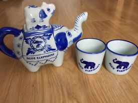 Blue Elephant Tea Pot and two cups. Excellent Condition