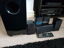 Onkyo RT380 5.1 surround sound system, includes sub, 5 speakers, remote and av receiver