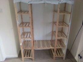 Double shelf canvas wardrobe