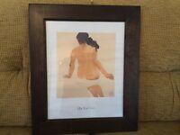 print of nude oriental lady Qu Lei Lei, in dark wood, stoutframe.