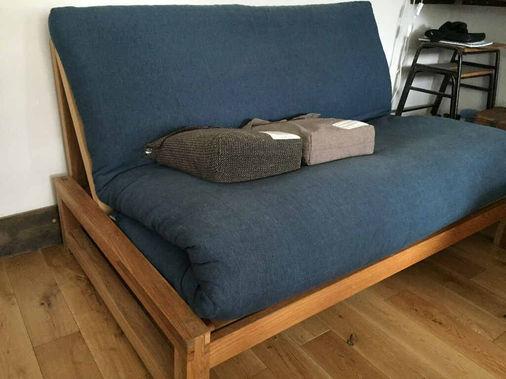 Solid Oak Linear Two Seat Sofa Bed By Futon Company With Mattress And Brand New Cover