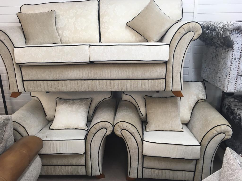 311 **NEW** 3 seater cream sofa with two armchairs fabric