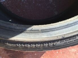 One 235/35/19 Aurogrip tyre. Half worn. £15