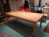 Birch wood dining table 225cm x 95cm x 78cm