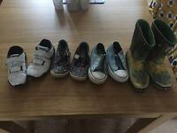 Boys size 8 shoes bundle of trainers, doodles, shoes and wellies.