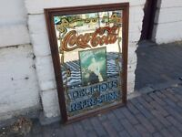 VINTAGE 1970s LARGE COLLECTABLE ADVERTISING COCA COLA MIRROR FAB DECOR DISPLAY WOOD FRAMED VGC