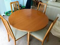 Dining Table and chairs, display cabinet and sideboard
