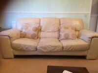 Free cream leather 3 seater sofa