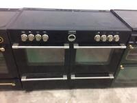 Black stoves 110cm Rana ceramic hub electric cooker grill double fan ovens good condition with gu
