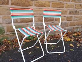 Pair of Vintage Retro Small Kid's Children's Folding Garden Chairs Multi Coloured Striped Patio Deck