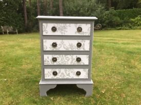 Hand painted small chest of drawers / bedside / side table