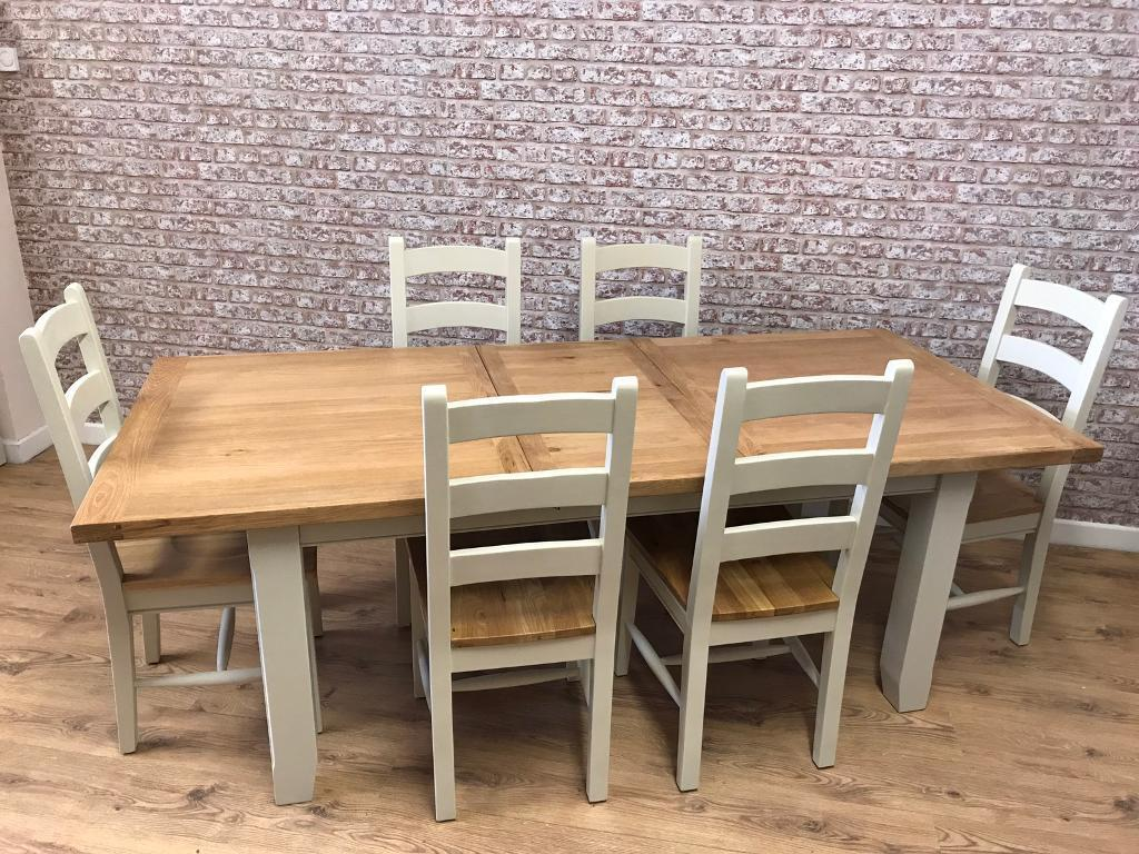 1.8m extending to 2.3m oak top farmhouse dining table