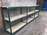 Green heavy duty storage racking shelves 1.5m tall