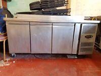 Tefcold CF7310 3 Door Commercial Stainless Steel Freezer Prep Counter