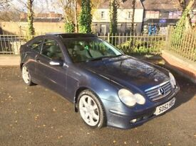 2003 MERCEDES C230 KOMPRESSOR SE AUTOMATIC LONG MOT 96K MILES PAN ROOF VERY VERY CLEAN £1295 ONO