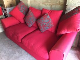 3 Piece Red Sofa with two patterned cushions