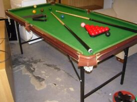 6 Ft Snooker Table with Folding Legs. Cues, Balls, Scoreboard etc