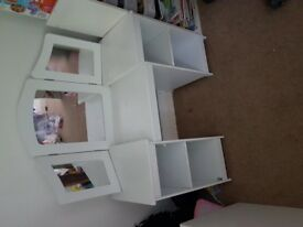 Kids dressing table, white wood with mirrors includes chair