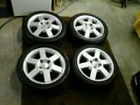 "Ford 16 "" alloy wheels and tyres these are off a street ka / sportka"