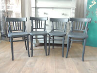 Set of four vintage bentwood bistro style chairs